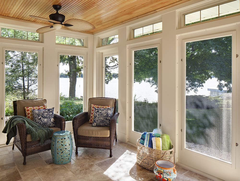Great Screened In Porch Featuring A Douglas Fir Beadboard Ceiling