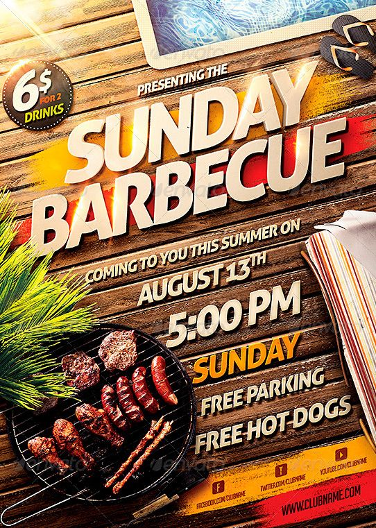 Barbecue BBQ Party Flyer Template\u2026 \u2026 Poster/Flyer Party flyer
