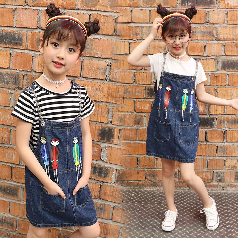 ee29a7e6b2b New H Style Kids Girls Clothes Sets Striped Short Sleeve T Shirt Summer Two  Sets Cartoon