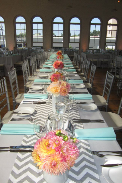 Nice Chevron Table Runner, With Turquoise Napkins And Pink And Yellow Flowers