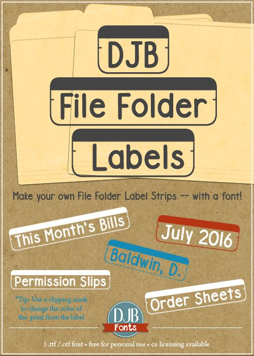 Why mess with those sticky, finicky printer sheets when you can DIY your own file folder labels with this free for personal use font from DJB Fonts!