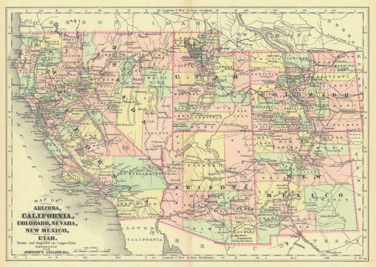 Map Antique. Map of Arizona California Colorado Nevada New Mexico ...