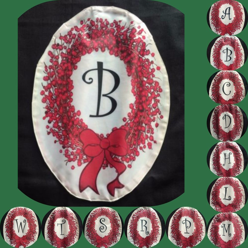 Holiday Small Garden Flag Christmas Wreath Red Winter Monogrammed Personalized