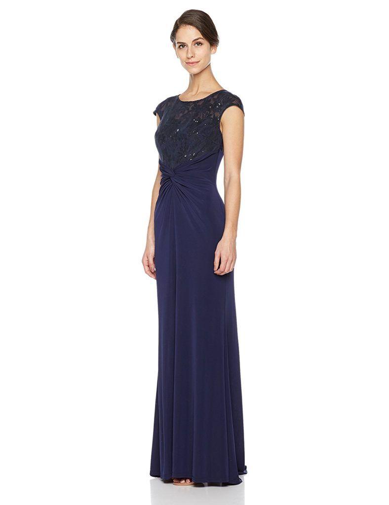 8d92b117df0 Social Graces Women s Sequin Lace Illusion Neckline Cap-Sleeve Evening Gown