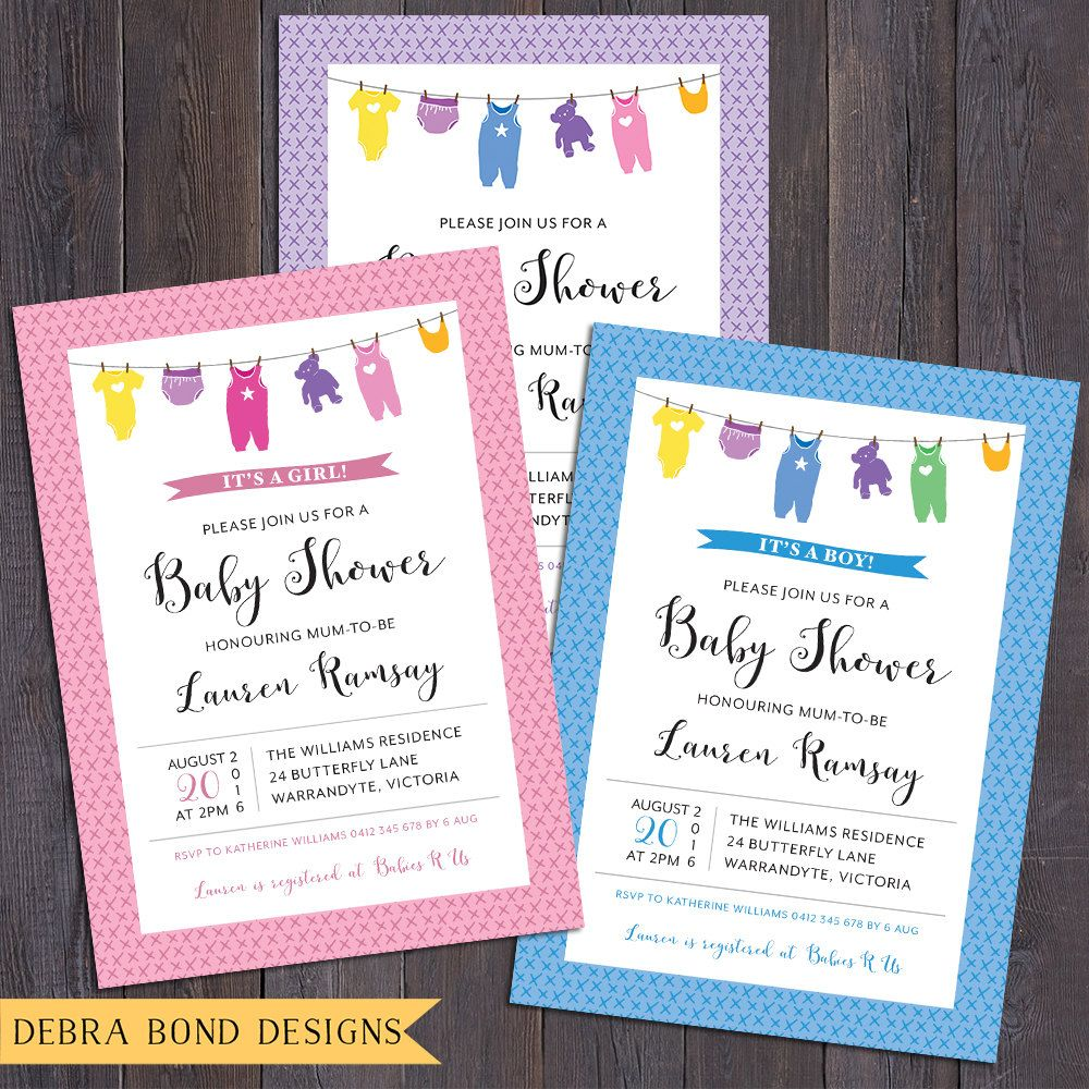 Baby shower invitation, clothes line, onesie, baby clothes, girl ...