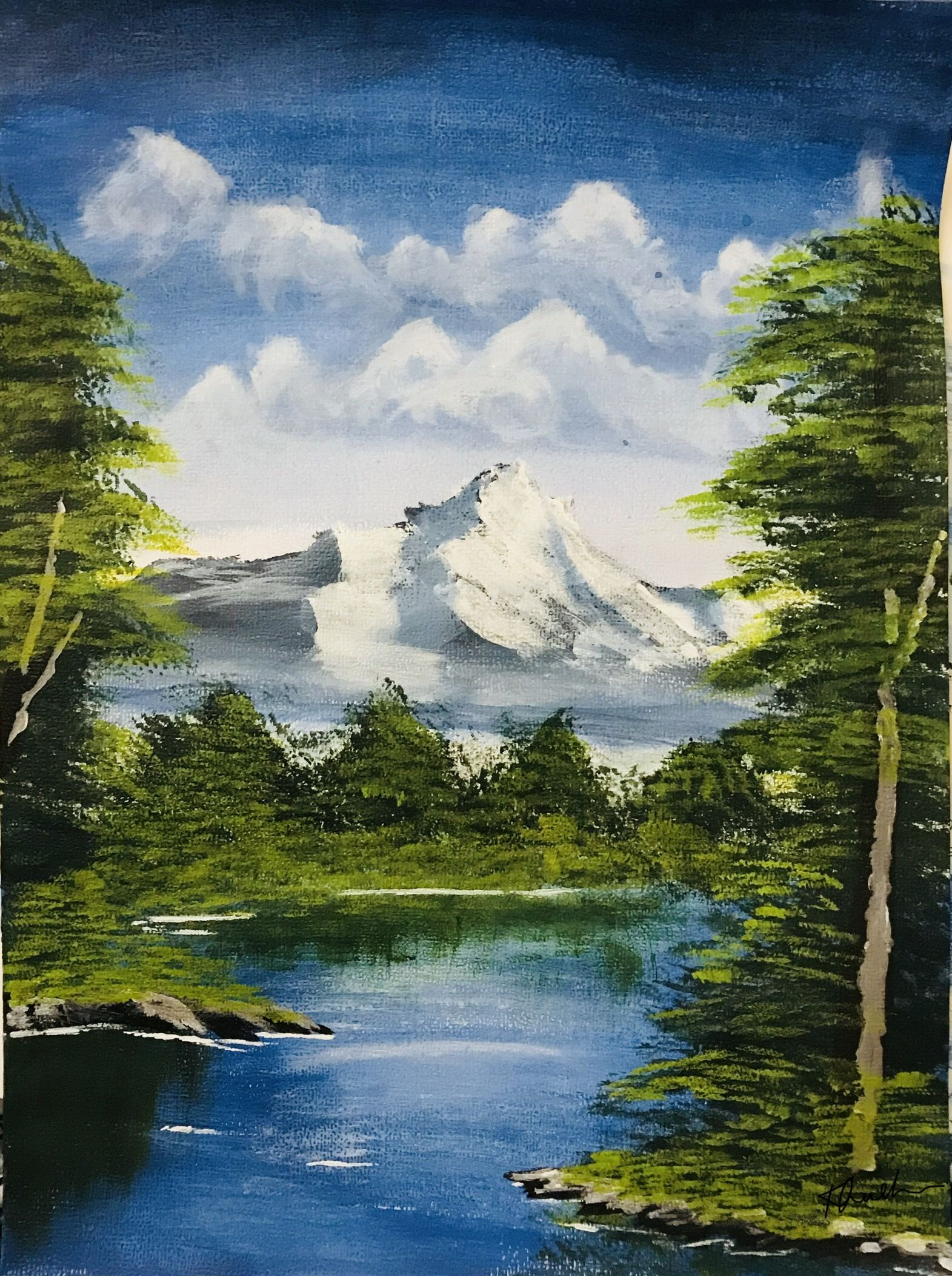 Acrylics On Canvas Easy Acrylic Painting Landscape Acrylic Painting Acrylicpainting Art Canvas C Landscape Simple Acrylic Paintings Acrylic Painting