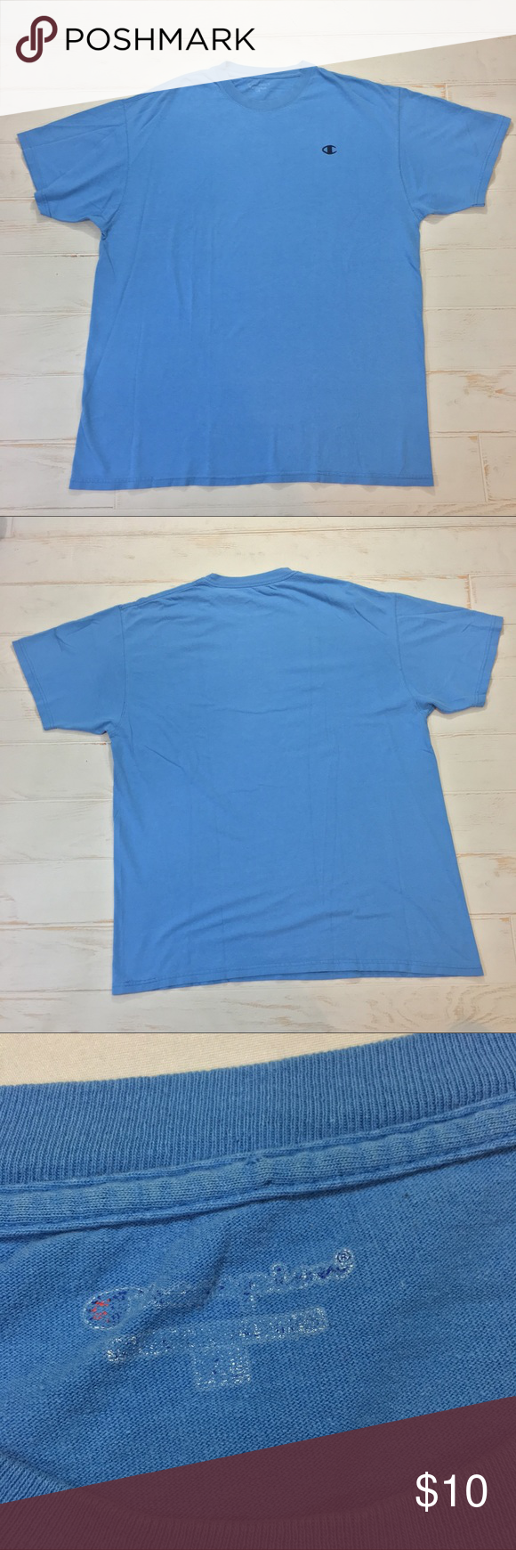 7b003673 Vintage Champion Light Blue Basic Solid T Shirt Vintage Champion Light Blue  Black Small Logo Basic Solid T Shirt Size XL Good condition tag is just  faded ...