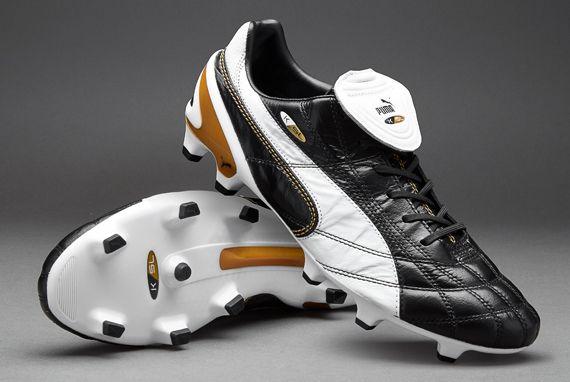 Puma Football Boots - Puma King SL Classico FG - Firm Ground - Soccer Cleats - Black-White-Puma Gold - 10332901