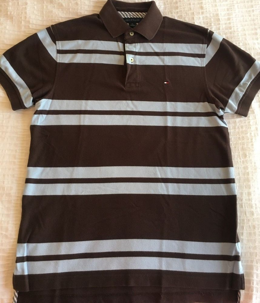Men's Clothing Ralph Lauren Polo Shirt Medium Brown With White Stripes And Brown Polo Man