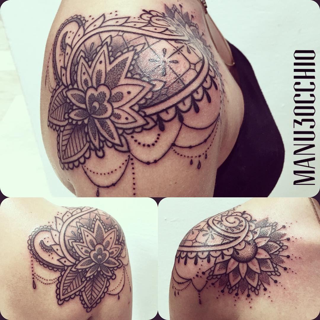 Tatuajes Mehndi Hombro : Paisley y flor de loto por manu terzo occhio
