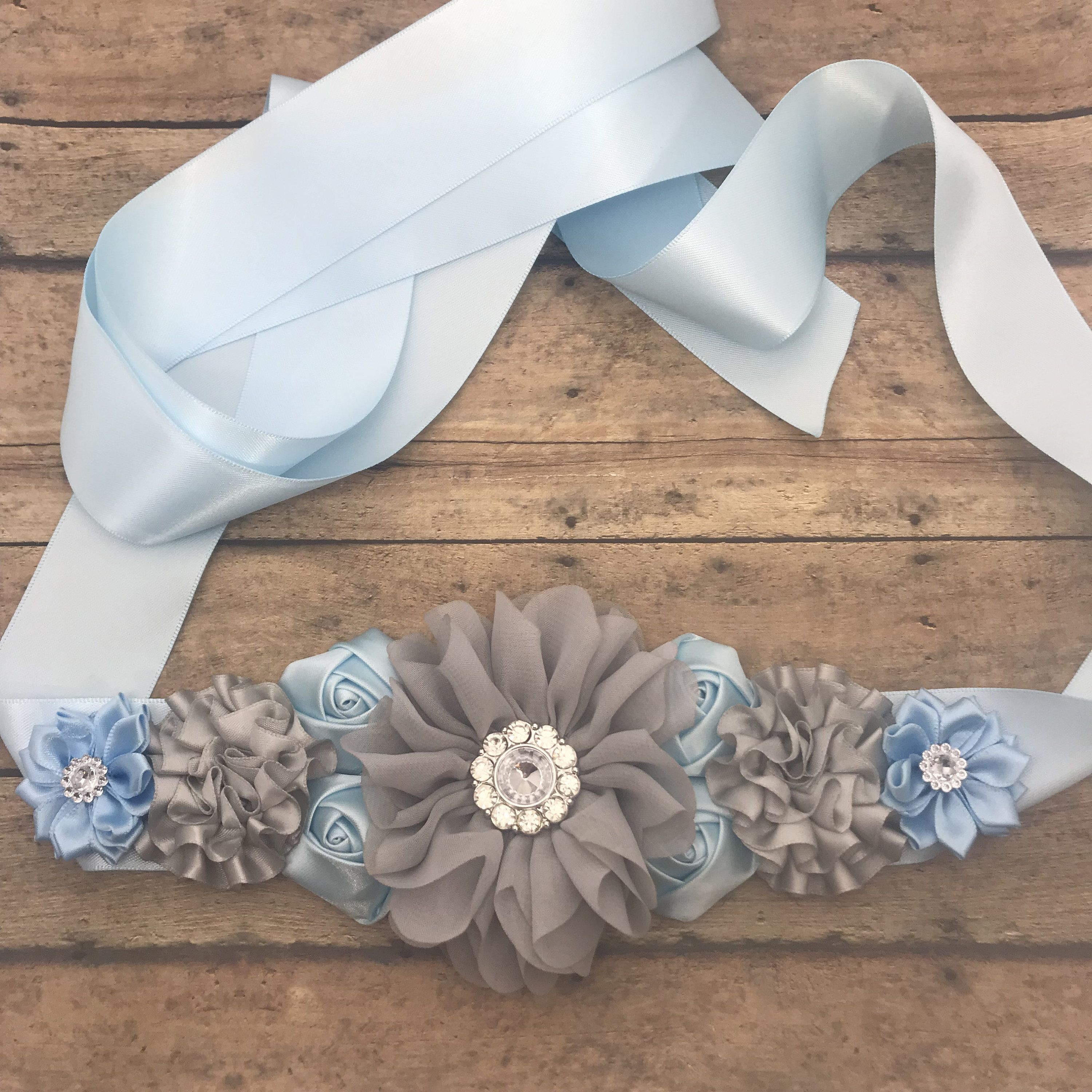 Blue And Grey Sash Maternity Sash Maternity Sash Boy Maternity Belt Belly Sash Ready To Ship Baby Shower Sash Photo Prop Baby Shower Sash Baby Shower Sash Boy Baby Shower Corsage