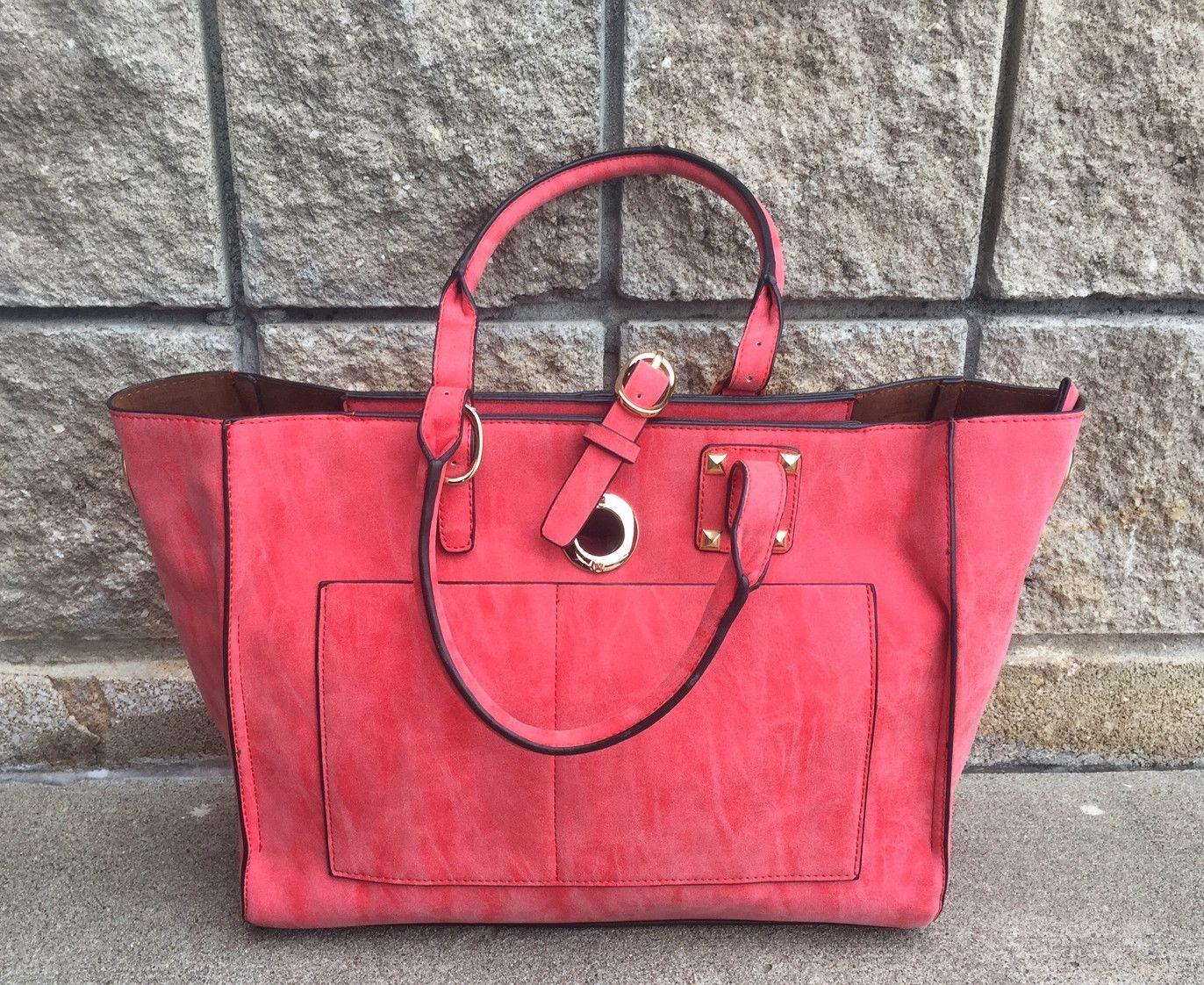 Red Designer Front Pocket Tote