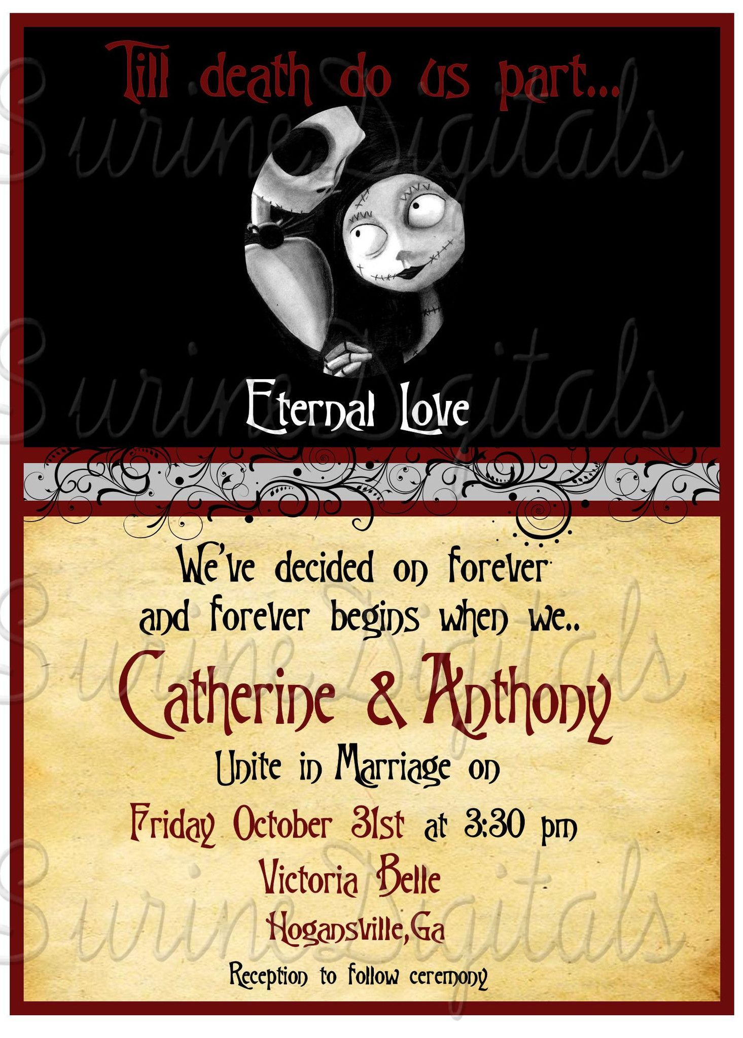 Nightmare Before Christmas Wedding Invitation/ Halloween Themed ...