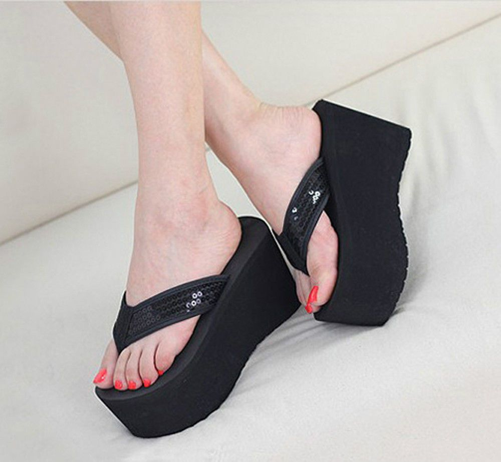 Womens Platform Sandals - Fashion Summer Wedge Sandals Chunky Heeled Slippers Pumps Shoes