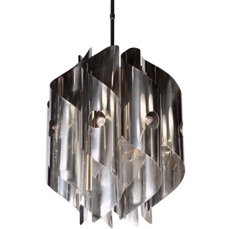 Italian Chrome Spiral Chandelier | From a unique collection of antique and modern chandeliers and pendants  at https://www.1stdibs.com/furniture/lighting/chandeliers-pendant-lights/