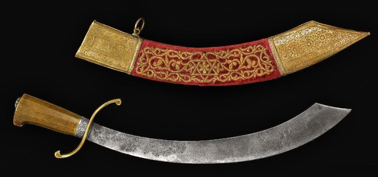 Rare Maritime Cutlass and Scabbard Dated: 17th/18th century blade with 19th century scabbard Place of Origin: Morocco