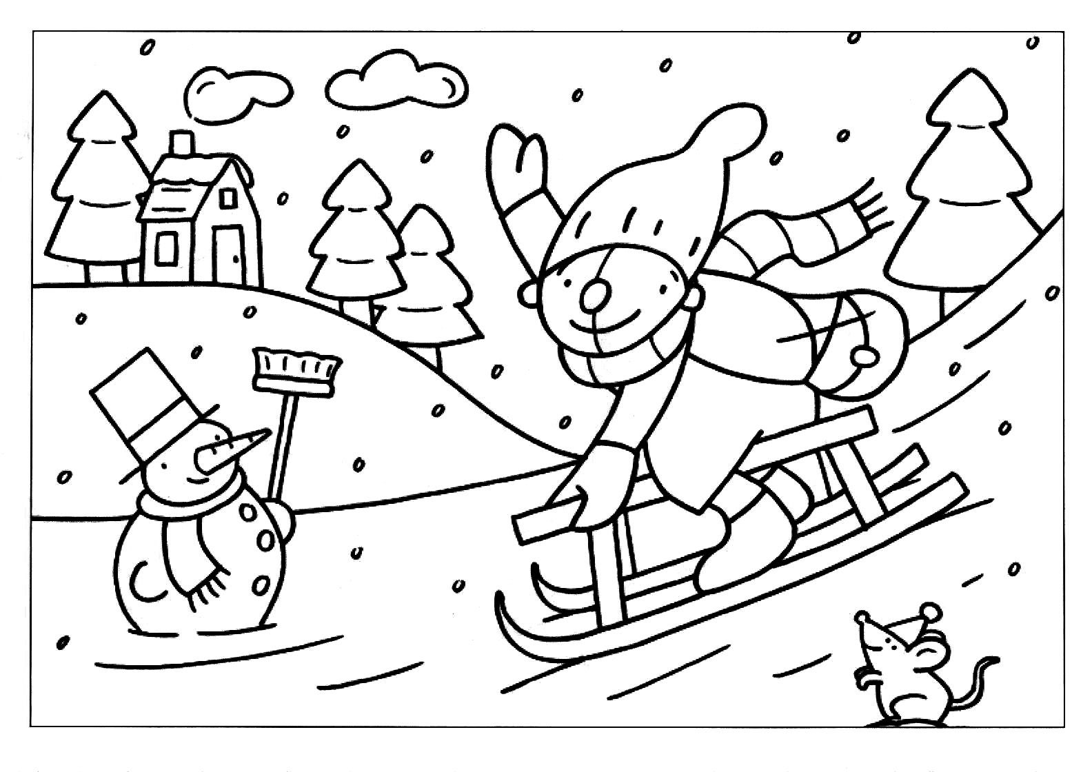 Kleurplaten Winter Slee.Kleurplaat Pompom Op De Slee Schatkist Pompom