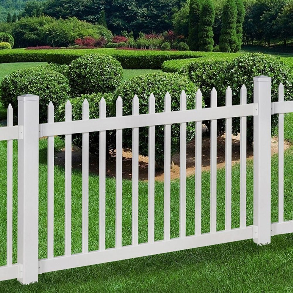 Wambam Fence No Dig Permanent 4 Ft X 6 Ft Nantucket Vinyl Picket Fence Panel With Post And Anchor Kit Bl1 In 2020 Garden Shed Diy Vinyl Picket Fence Front Yard Decor