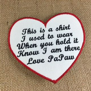 SEW ON Memory Patch - Heart Shaped Memorial Patch, This is a shirt I used to wear, In Memory Of, Shirt Pillow Patches, Memory Patches #memorypatches #memoryshirtpillows #personalizedpatches #keepsakepillows #thisisashirt
