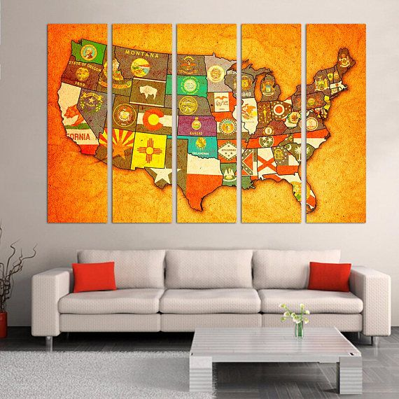 Map Of Usa With State Names Canvas Print - Map #art #print #giclee ...