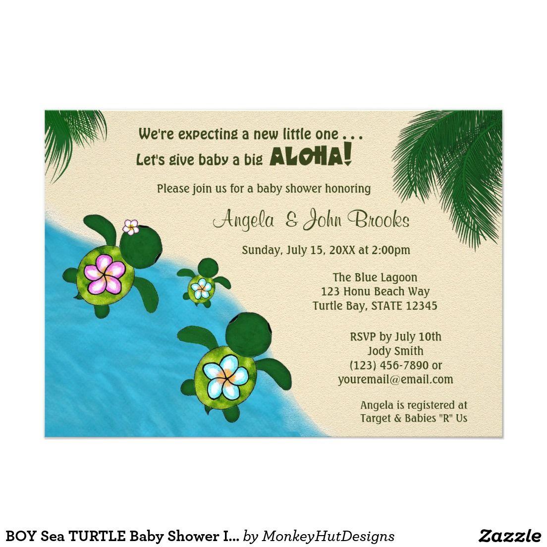 BOY Sea TURTLE Baby Shower Invite BLUE (Honu) 5\