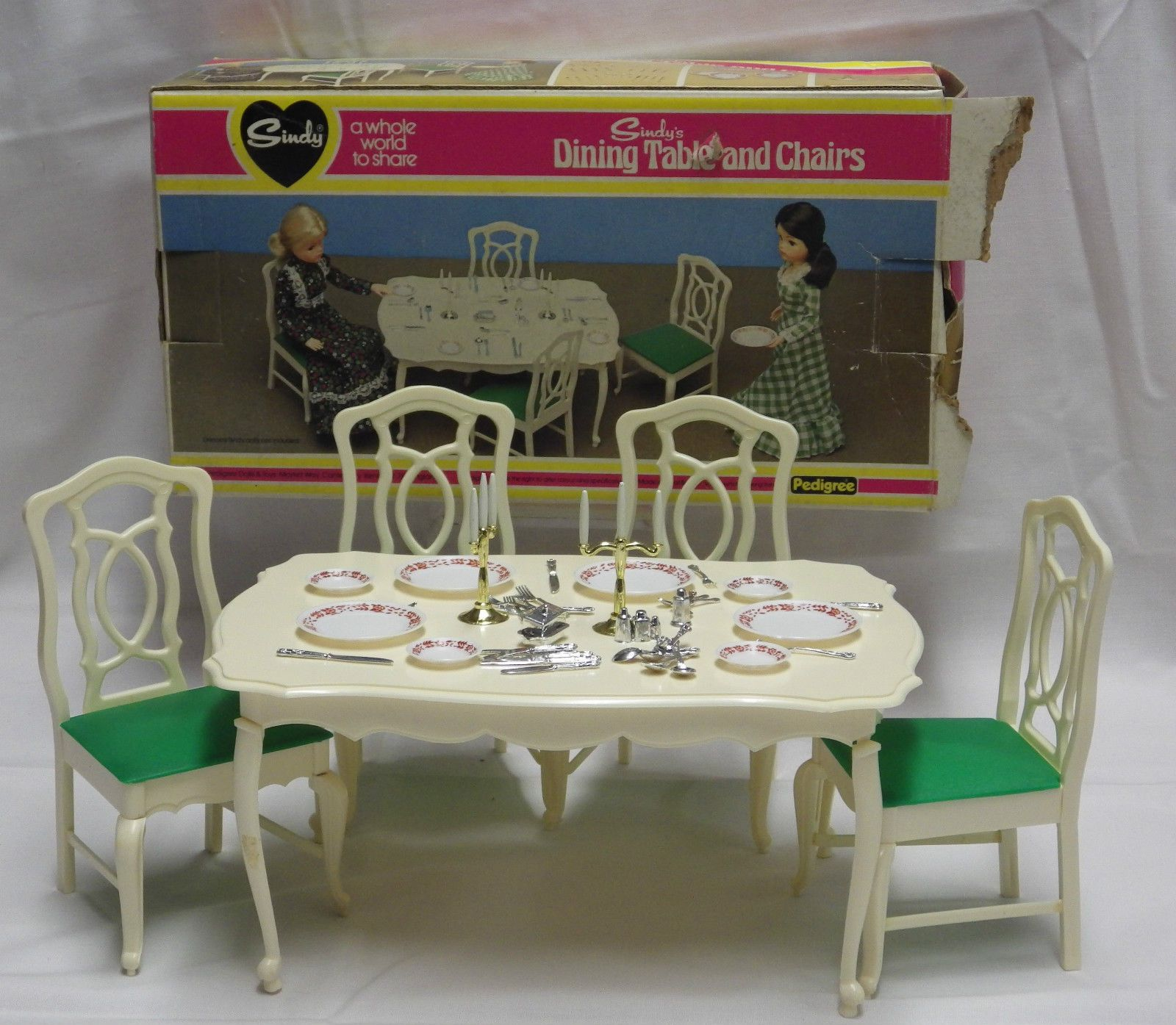 Vintage 60s 70s Sindy Dining Table and Chairs w Accessories Boxed