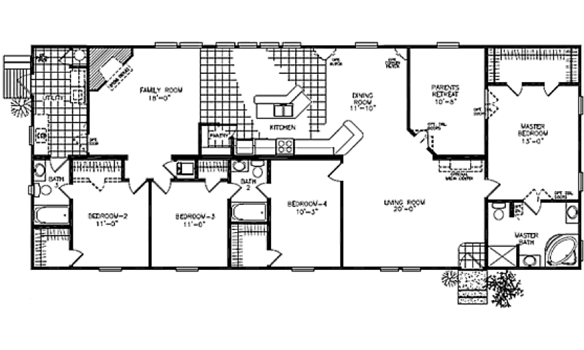 Fuller modular homes classic ranch modular 2380k modular for Large ranch home floor plans
