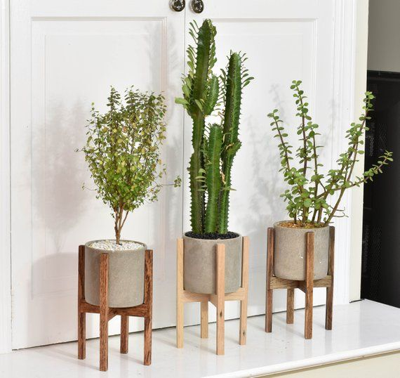 Small – Mid Century Modern Plant Stand with Cement Pot, Indoor Plant Stand with Concrete Pot, Modern Planter Stand with Cement Pot