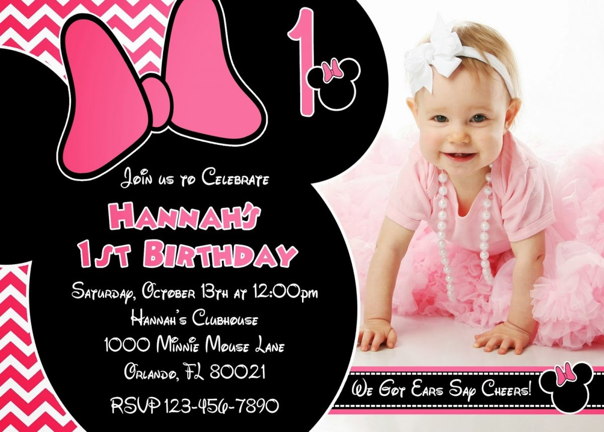 Minnie Mouse Birthday Invitations Free | Cute Happy Birthday ...