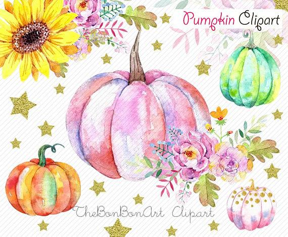 Pumpkin Watercolor Clipart Pumpkin Clipart Autumn Clipart