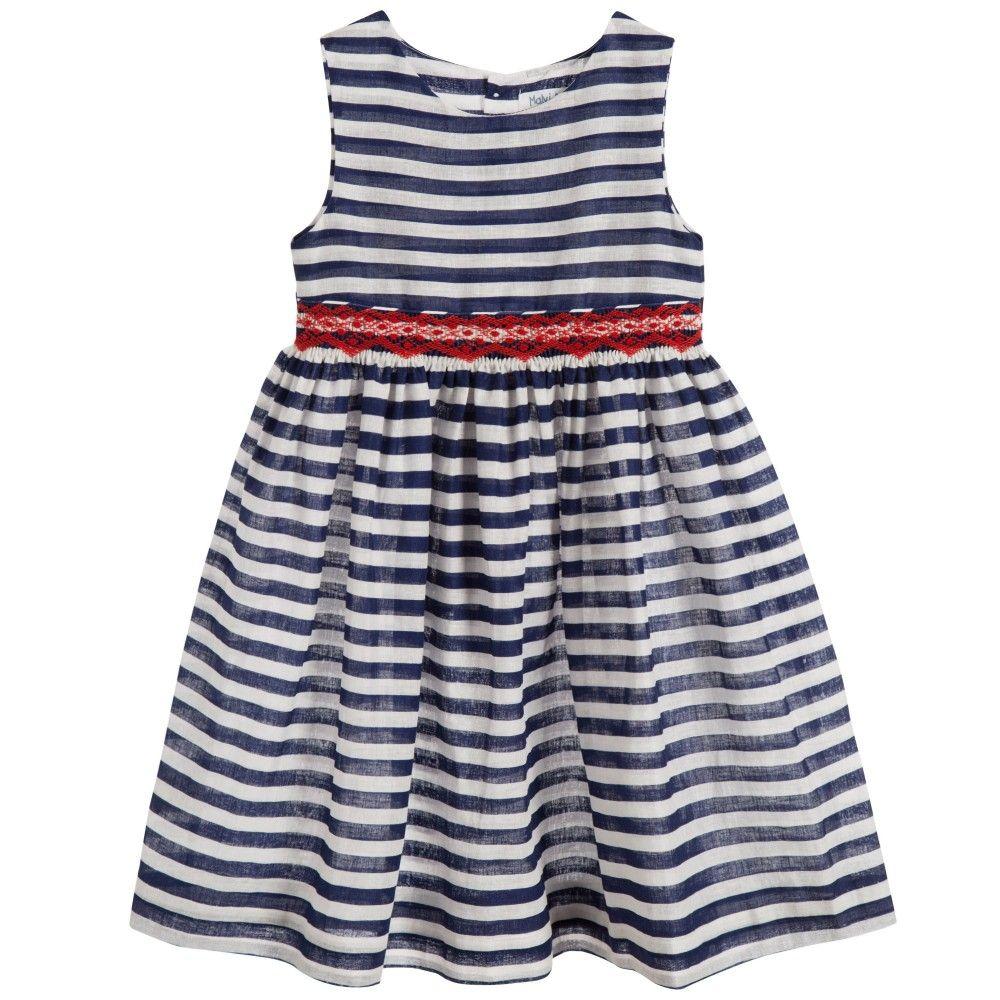 Malvi & Co Blue & White Stripe Hand-Smocked Linen Dress at Childrensalon.com