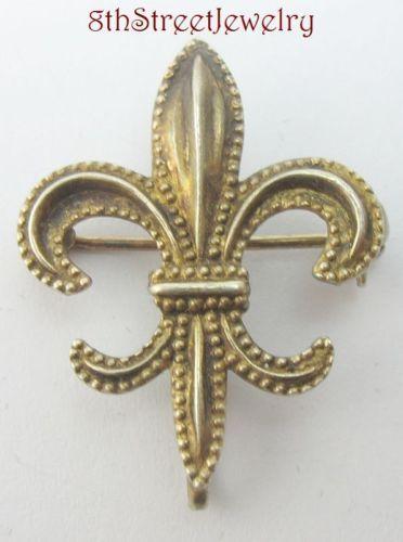Estate-Art-Deco-Gold-Wash-Sterling-Silver-925-Fleur-de-lis-Lapel-Watch-Pin