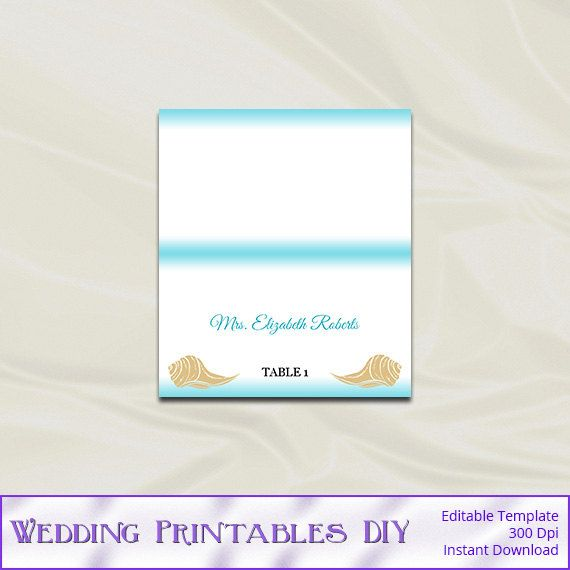 Beach Wedding Place Cards Template Diy Destination Aqua Blue Gold Seashell Tent Name Cards Printable Edita Printable Cards Wedding Place Cards Personal Cards