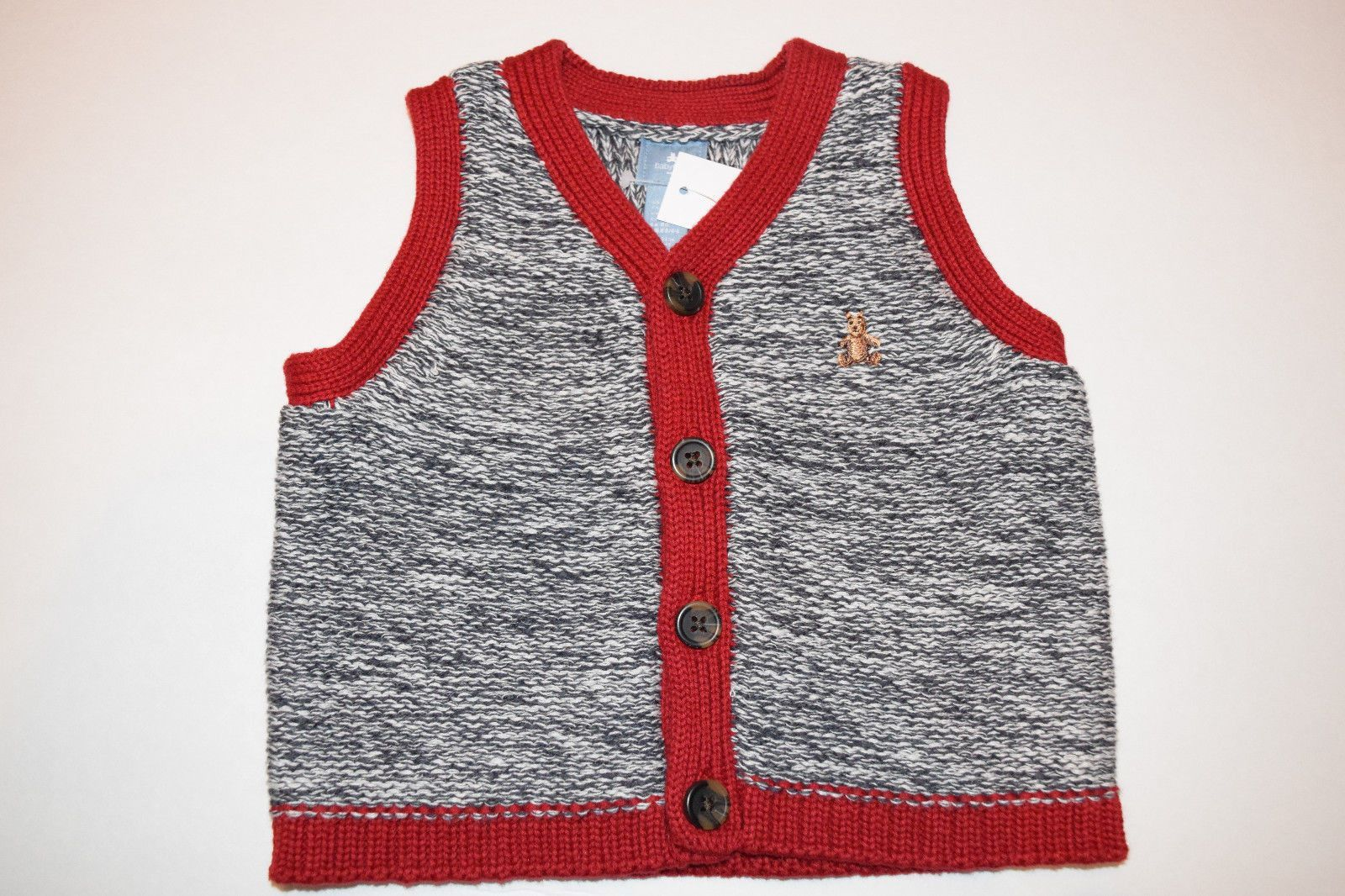 BABY GAP Boys Marled Button Up V-neck Sleeveless Sweater Vest Size ...