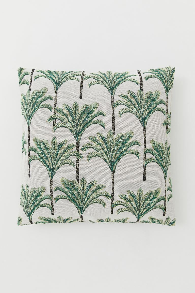 Jacquard Weave Cushion Cover Light Beige Palm Trees Home All H M Us