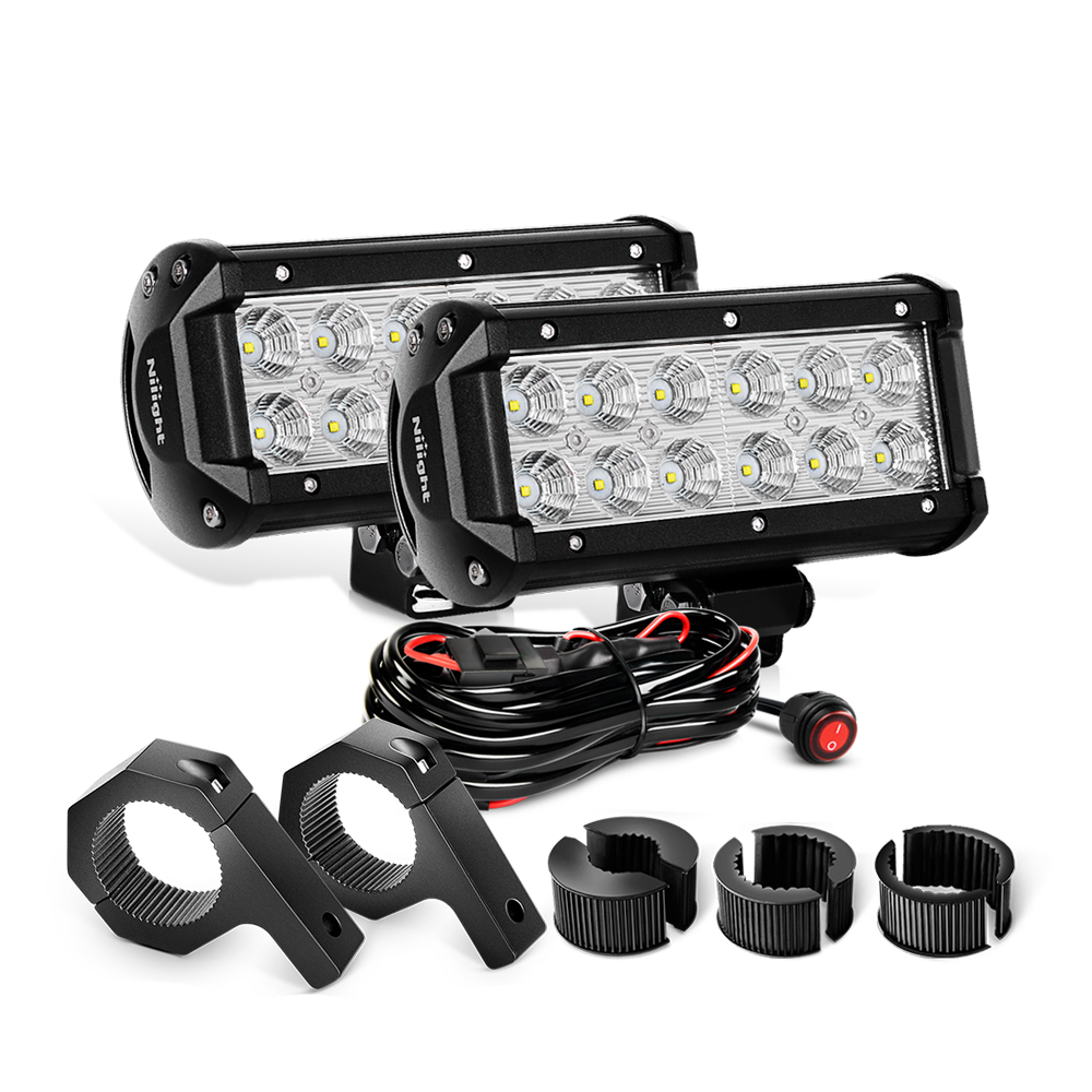 2pcs 65 Inch 36w Flood Led Light Bars Off Road Horizontal Wiring Harness Clamps Nilight Bar Clamp Mounting Bracket Kit 2 Years Warranty