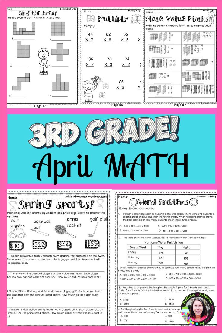 3rd Grade Math For April Worksheets Digital And Printable 3rd Grade Math Math Work Math Lesson Plans [ 1102 x 735 Pixel ]