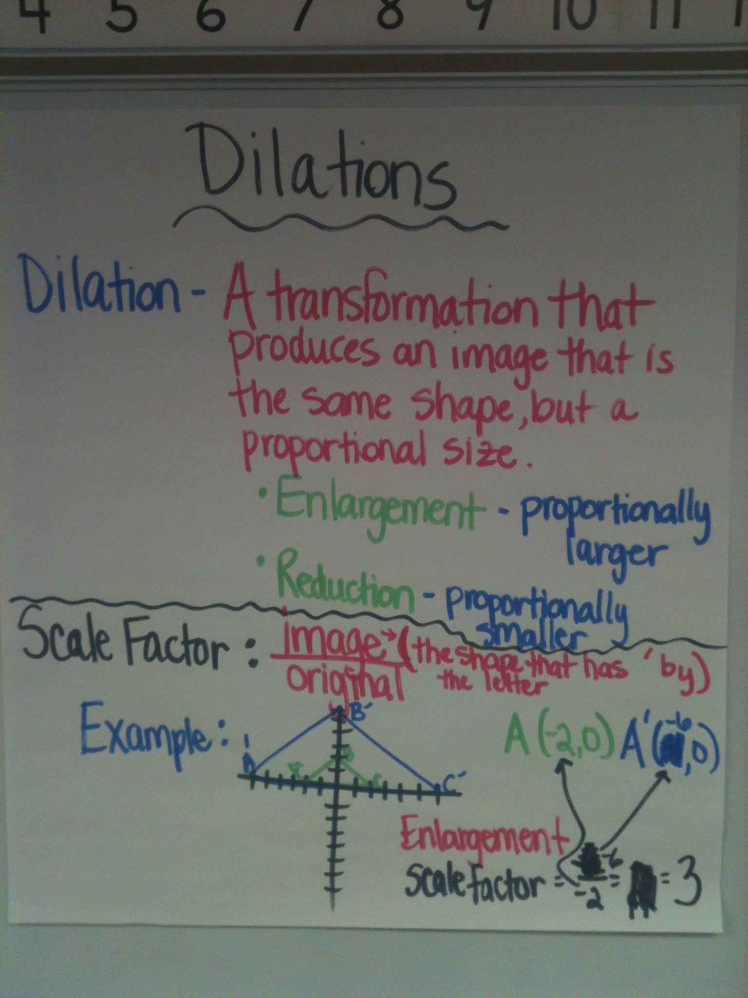 Dilations Math Workbook 8th Grade Math Math Notebooks