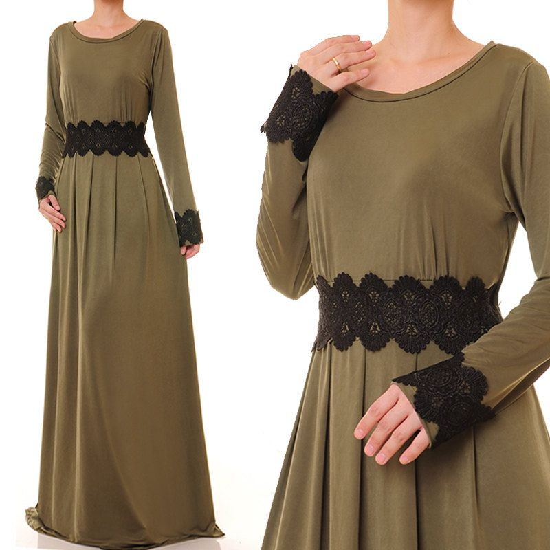 Olive Green Dress Jersey Abaya Maxi Dress Long Sleeve Dubai