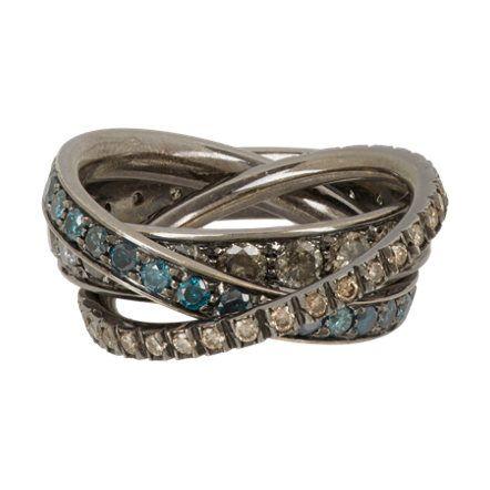 1058612fab52 Roberto Marroni Multi Diamond   Oxidized White Gold Triple Ring at  Barneys.com