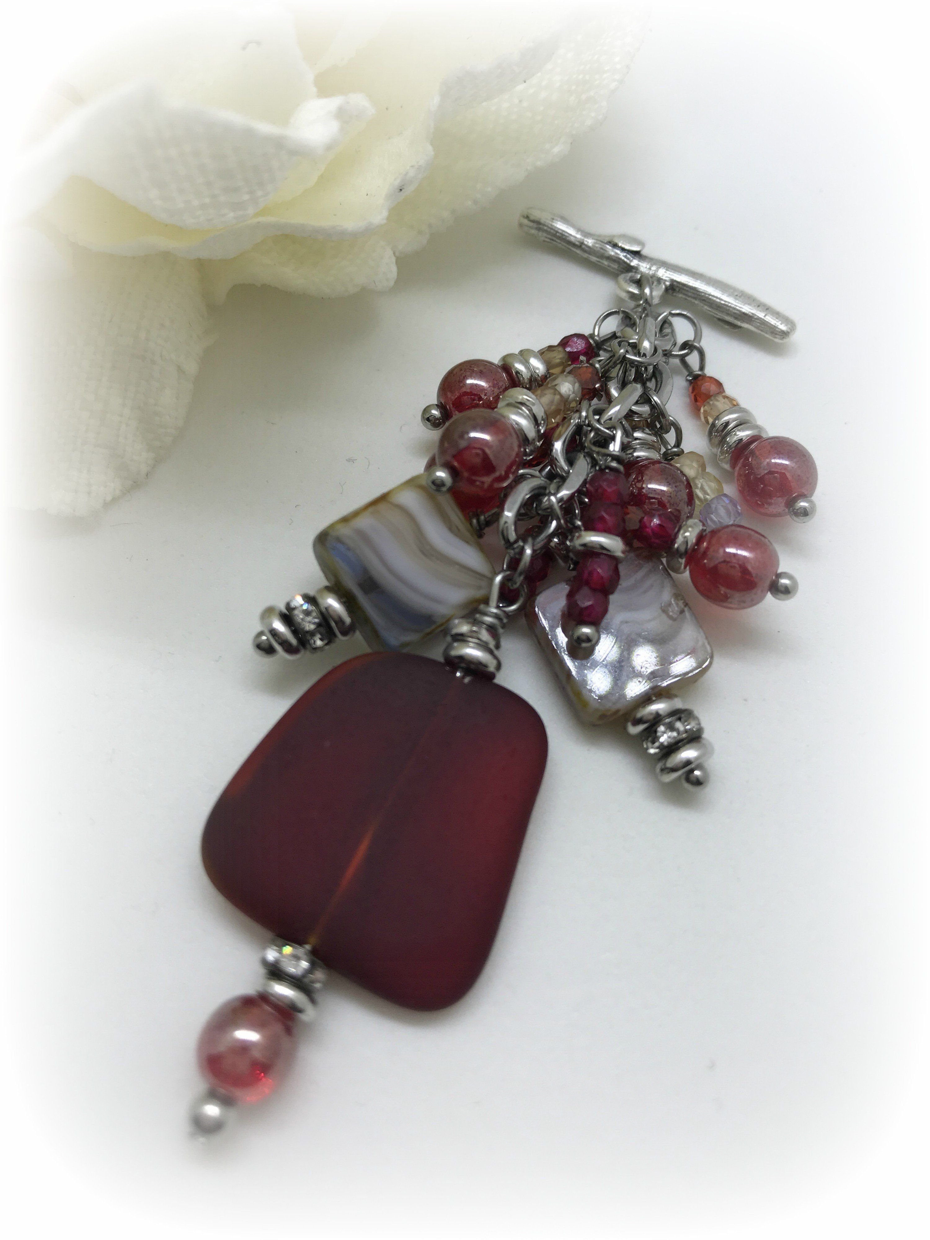 Red sea glass and czech glass interchangeable beaded pendant red sea glass and czech glass interchangeable beaded pendant necklace 1521d aloadofball Choice Image