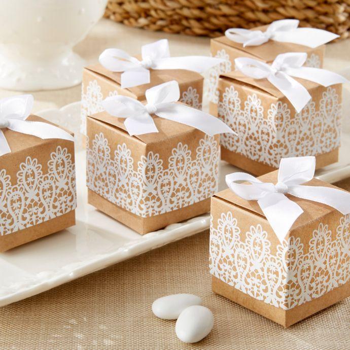 """Kate Aspen® """"Rustic & Lace"""" Kraft Favor Boxes (Set Of 24"""