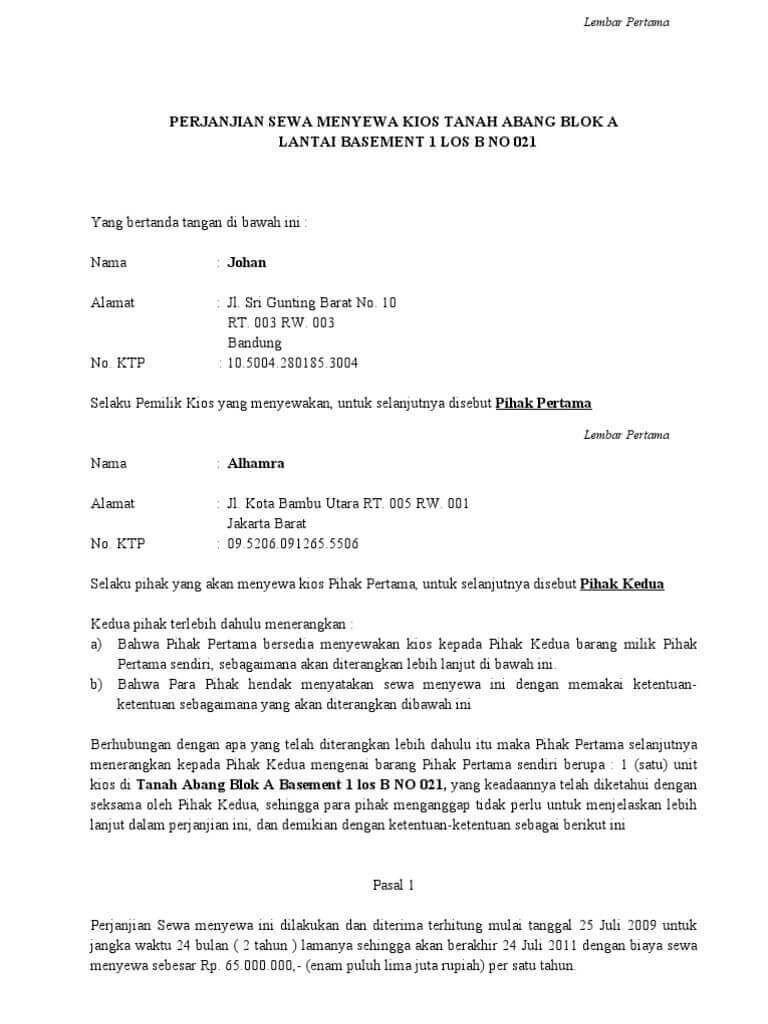 8 Contoh Surat Perjanjian Sewa Ruko Kios Di Pasar Tempat Usaha Pdf Docx Surat Penyewaan Ruko
