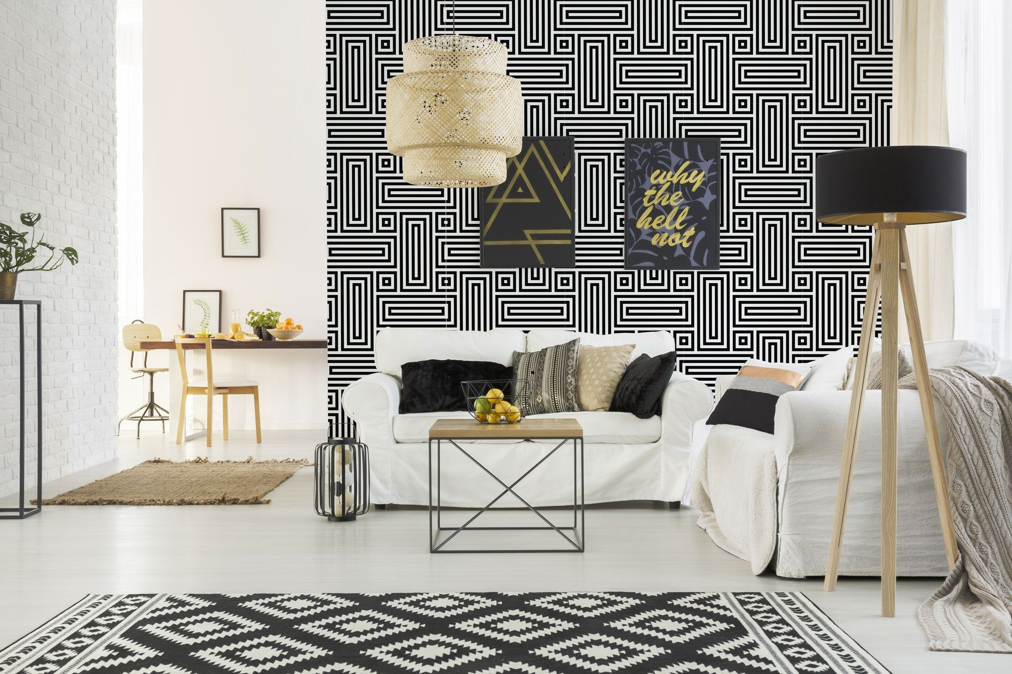 Geometric Pattern Removable Wallpaper Design Black And White Etsy Removable Wallpaper Traditional Wallpaper Peel And Stick Wallpaper
