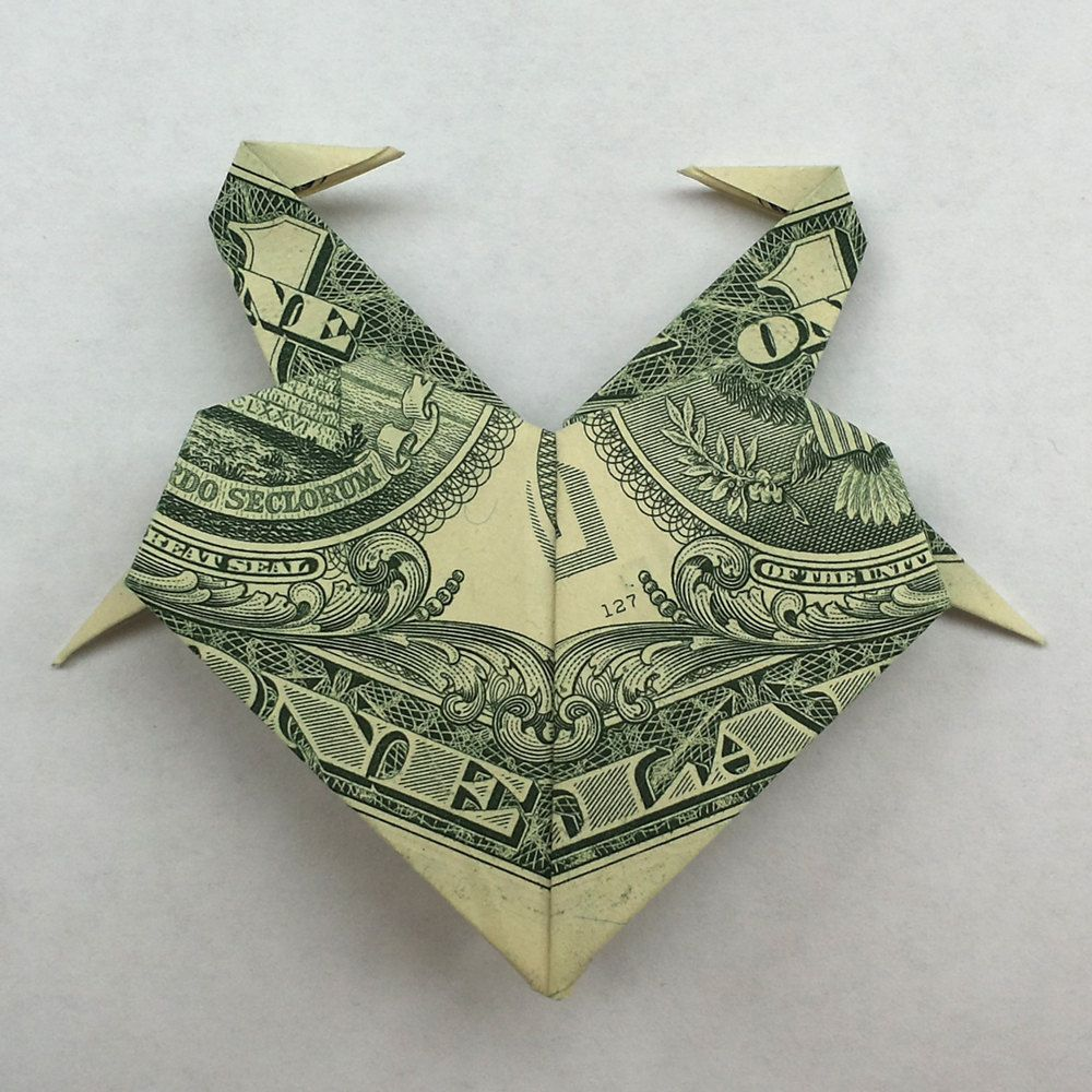 Money origami heart with flamingos art gift real one dollar bill money origami heart with flamingos art gift real one dollar bill by trinket2shop on etsy jeuxipadfo Images
