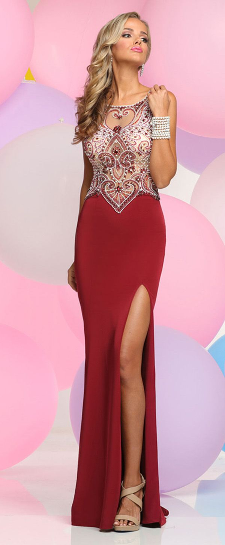 Classic Spandex Jewel Neckline Sheath Prom Dresses With Beadings ...