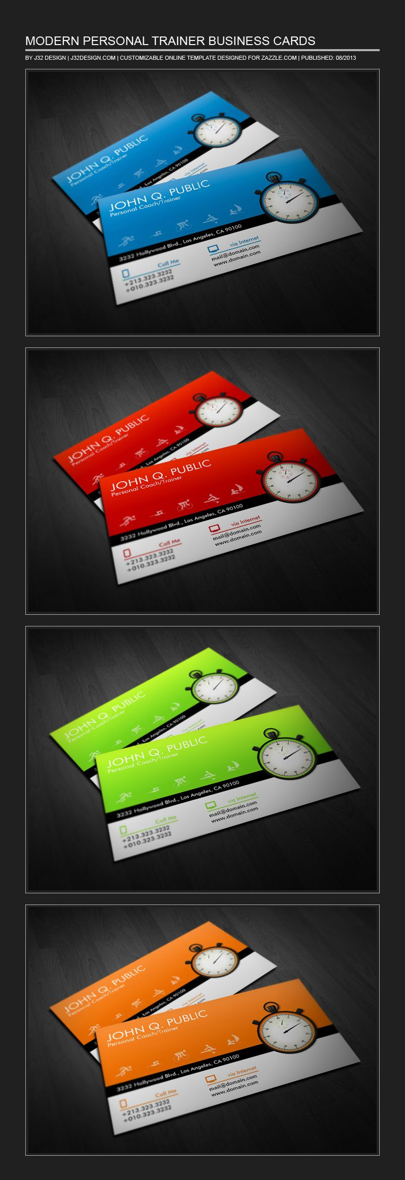Modern Business Cards for Personal Trainers and Coaches. Colorful ...