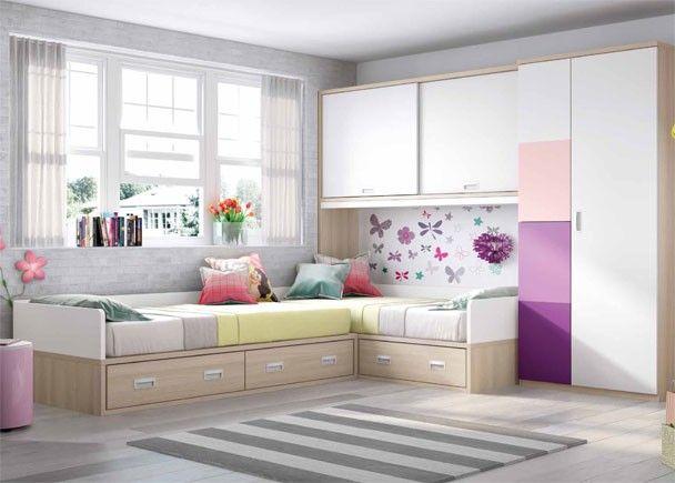 Dormitorio infantil con 2 camas altillo y armariada mobiliario juvenil morado lila en 2019 - Dormitorios infantiles dobles ...