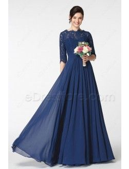 87c3b0ab09 Wisteria Purple Modest Bridesmaid Dress with Elbow Sleeves ...