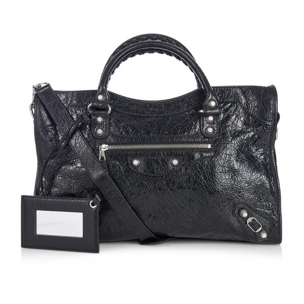 Balenciaga City Giant 12 leather tote (€1.660) ❤ liked on Polyvore featuring bags, handbags, tote bags, black, leather handbag tote, handbags totes, leather tote purse, woven leather handbag and leather tote